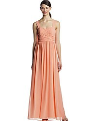 cheap -A-Line Straps Floor Length Polyester Bridesmaid Dress with Ruching