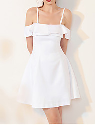 cheap -A-Line Sexy White Homecoming Cocktail Party Dress Spaghetti Strap Sleeveless Short / Mini Spandex with Ruffles 2020