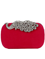 cheap -Women's Buttons / Crystals Polyester / Alloy Evening Bag Wedding Bags Solid Color Black / Purple / Red / Fall & Winter