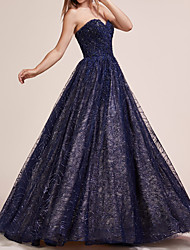 cheap -Ball Gown Sweetheart Neckline Floor Length Lace Elegant / Blue Engagement / Prom Dress with Lace Insert / Appliques 2020