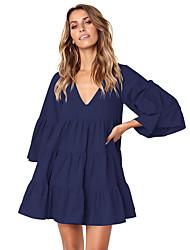 cheap -Women's Shift Dress - Solid Color Black Wine Royal Blue S M L XL