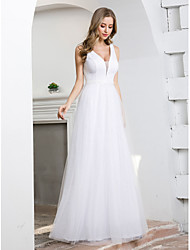 cheap -A-Line Plunging Neck Floor Length Tulle Sleeveless Simple Elegant Wedding Dresses with 2020