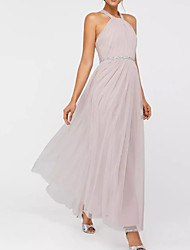 cheap -A-Line Pink Spring Holiday Prom Dress Halter Neck Sleeveless Floor Length Polyester with Pleats Beading 2020
