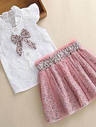 cheap -Kids Girls' Basic Color Block Sleeveless Clothing Set Blushing Pink