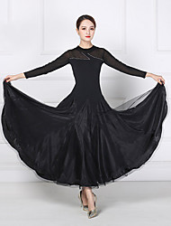 cheap -Ballroom Dance Dresses Women's Training / Performance Mesh / Organza / Lycra Split Joint / Crystals / Rhinestones Long Sleeve Dress