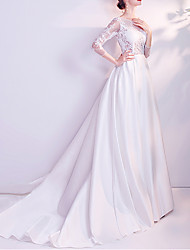 cheap -A-Line Jewel Neck Court Train Chiffon / Tulle 3/4 Length Sleeve Formal Plus Size / Illusion Sleeve Wedding Dresses with Draping / Lace Insert / Appliques 2020