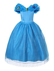 cheap -Princess Cinderella Dress Party Costume Flower Girl Dress Kid's Girls' A-Line Slip Ball Gown Slip Mesh Birthday Christmas Halloween Masquerade Festival / Holiday Silk / Cotton Blend Blue Carnival