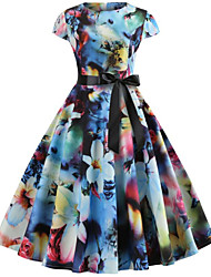 cheap -Women's Rainbow Dress Active Cute Party Daily Swing Floral Print Patchwork Print S M / Cotton