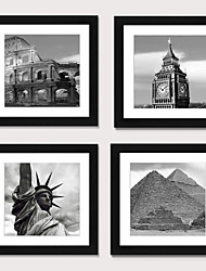 cheap -Framed Art Print Framed Set4 - European And American Style Black And White Architecture  Scenic PS Illustration Wall Art
