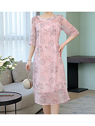 cheap -Women's A Line Dress - Print Blushing Pink M L XL XXL