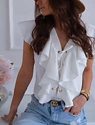 cheap -Women's Solid Colored Ruffle Blouse Basic Daily V Neck White