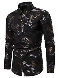 cheap -Men's Party Going out Basic Shirt - Geometric Black