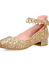 cheap -Women's Heels Chunky Heel Round Toe Rhinestone / Imitation Pearl PU British / Preppy Spring &  Fall Gold / Silver / Wedding / Party & Evening