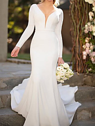cheap -Mermaid / Trumpet Plunging Neck Court Train Polyester Long Sleeve Country Plus Size Wedding Dresses with Draping 2020