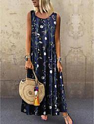 cheap -Women's Shift Dress - Floral Yellow Blue Green S M L XL