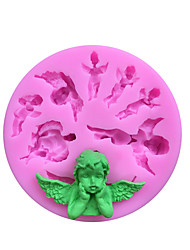 Недорогие -Маленький ангел и эльф торт плесень сделай сам ангел детские шоколадные украшения глюикон