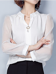 cheap -Women's Solid Colored Blouse Daily V Neck White / Black / Red / Yellow