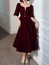 cheap -A-Line Elegant Red Party Wear Prom Dress Scoop Neck Half Sleeve Tea Length Velvet with Buttons 2020