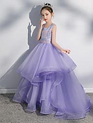 cheap -Princess Sweep / Brush Train Wedding / Party / Pageant Flower Girl Dresses - Spun Rayon Sleeveless Jewel Neck with Paillette