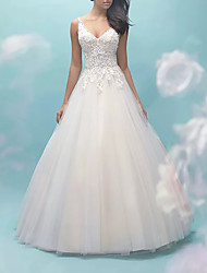 cheap -Ball Gown Wedding Dresses V Neck Sweep / Brush Train Lace Tulle Sleeveless Formal Casual Plus Size with Draping 2021
