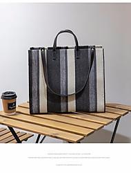 cheap -Women's Polyester Top Handle Bag Striped Khaki / Blue / Black