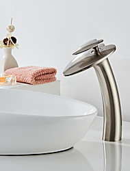 cheap -Cool Bathroom Sink Faucet -Silver Waterfall Nickel Brushed Centerset Single Handle One HoleBath Taps