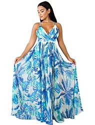 cheap -Women's Swing Dress - Print Blushing Pink Yellow Blue S M L XL