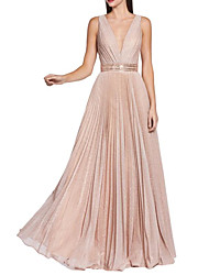 cheap -A-Line Sparkle Pink Wedding Guest Prom Dress V Neck Sleeveless Floor Length Sequined with Sash / Ribbon Pleats Sequin 2020