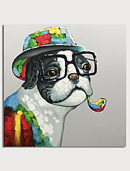 cheap -Hand Painted Canvas Oilpainting Abstract Dog Smoking by Knife Home Decoration with Frame Painting Ready to Hang