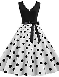 cheap -Women's A Line Dress - Polka Dot Black Wine White S M L XL
