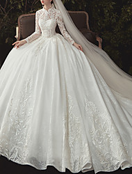 cheap -Ball Gown High Neck Watteau Train Lace / Tulle Long Sleeve Formal Plus Size / Illusion Sleeve Wedding Dresses with Lace / Beading / Lace Insert 2020
