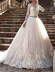 cheap -A-Line Wedding Dresses Jewel Neck Sweep / Brush Train Polyester Long Sleeve Country Plus Size with Lace Insert Appliques 2020 / Illusion Sleeve