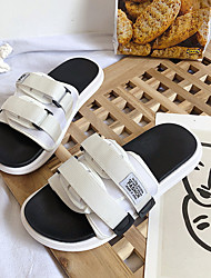 cheap -Men's PU Spring & Summer Casual Slippers & Flip-Flops Breathable Color Block White / Black
