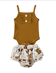 cheap -Baby Girls' Basic Floral Sleeveless Regular Clothing Set Khaki / Toddler