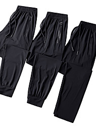 cheap -Men's Running Pants Track Pants Sports Pants Drawstring Ice Silk Sports Bottoms Running Fitness Jogging Training Breathable Quick Dry Sweat-wicking Plus Size Solid Colored Black Dark Grey Blue Grey