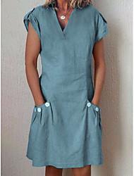 cheap -Women's Fuchsia Khaki Dress Shift Solid Color V Neck S M