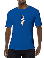 cheap -Men's Daily Sports Business / Basic T-shirt - Abstract / Cartoon / Tribal Black & White, Print Black