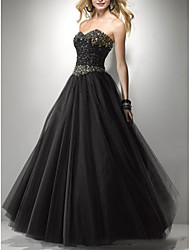 cheap -A-Line Strapless Floor Length Tulle Sleeveless Formal Black Wedding Dresses with Beading 2020