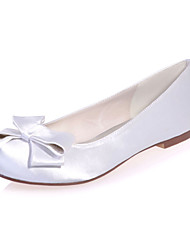 cheap -Women's Wedding Shoes Flat Heel Round Toe Wedding Flats Minimalism Wedding Party & Evening Satin Bowknot Solid Colored White Purple Red