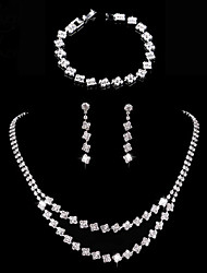 cheap -Women's Jewelry Set Bridal Jewelry Sets Tennis Chain Simple European Sweet Fashion Elegant Earrings Jewelry Silver For Wedding Engagement Gift Formal Prom 1 set