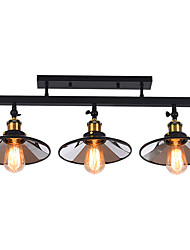 cheap -American Country Vintage Loft Ceiling Lamp Semi-Flushmount Light Direction Adjustable 3-Head Metal Mirror Living Room Dining Room