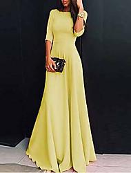 cheap -Women's Maxi Sheath Dress - Half Sleeve Solid Colored V Neck Elegant Slim White Black Purple Red Yellow Blushing Pink Green Navy Blue Light Blue S M L XL XXL