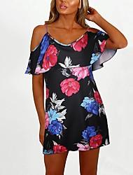 cheap -Women's White Black Dress A Line Floral S M