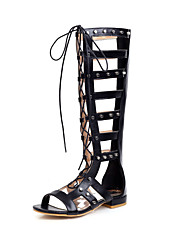 cheap -Women's Boots Flat Heel Open Toe Rivet Microfiber Knee High Boots Casual / Preppy Spring & Summer Black / Brown