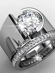 cheap -Men's Women's Ring AAA Cubic Zirconia 1pc Silver Platinum Plated Alloy Stylish Wedding Gift Jewelry Cute / Daily / Engagement