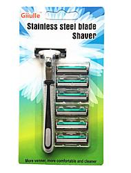 Недорогие -Новое поступление двойной слой лезвия бритвы инструмент 6 лезвия1 держатель ножа бритва бритва триммер для бороды для мужчин руководство кассеты