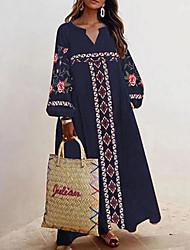 cheap -Women's Maxi Black Navy Blue Dress Shift Floral V Neck S M Loose