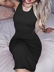 cheap -Women's Red Black Dress Sheath Solid Color S M Slim
