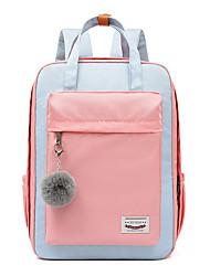 Недорогие -Большая вместимость Нейлон Молнии рюкзак Контрастных цветов Школа Белый с желтым / Белый / Розовый