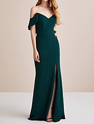 cheap -Sheath / Column Elegant Green Engagement Prom Dress Off Shoulder Short Sleeve Floor Length Polyester with Split 2020